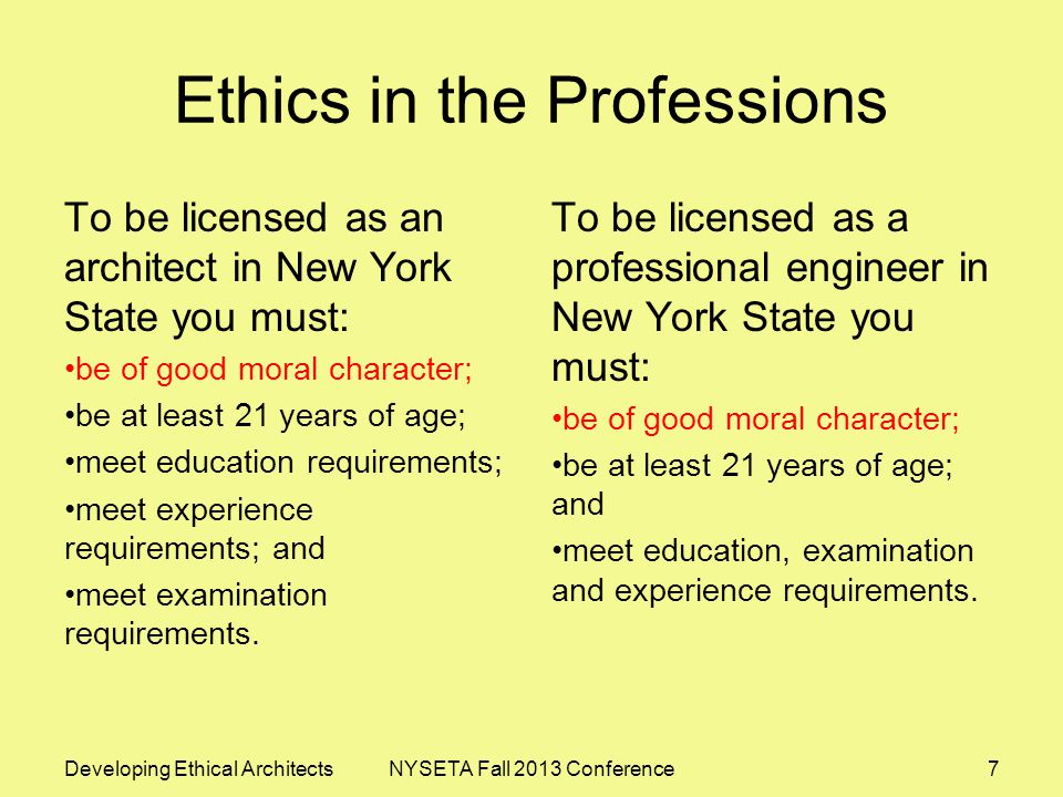 AIA Code of Ethics and Professional Conduct General Obligations Obligations to the Public Obligations to the Client Obligations to the Profession Obligations to Colleagues Obligations to the Environment Developing Ethical ArchitectsNYSETA Fall 2013 Conference18