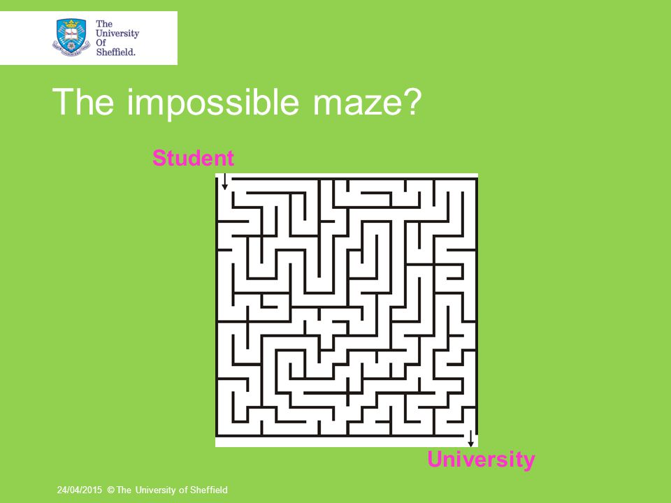 The impossible maze 24/04/2015© The University of Sheffield Student University