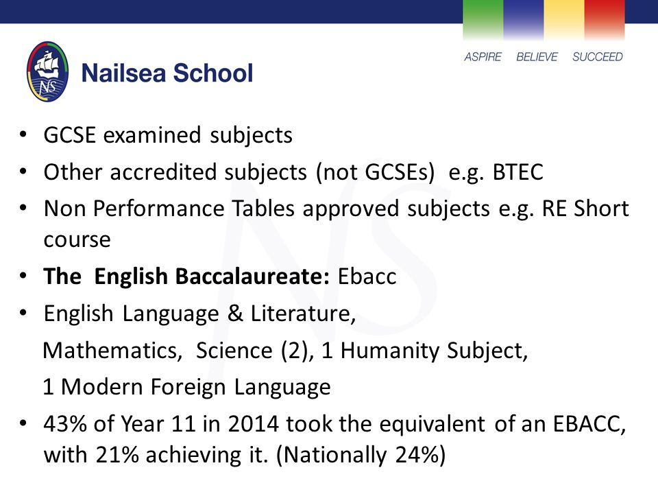 GCSE examined subjects Other accredited subjects (not GCSEs) e.g.