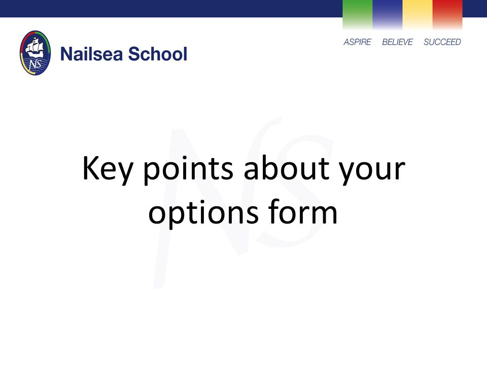Key points about your options form