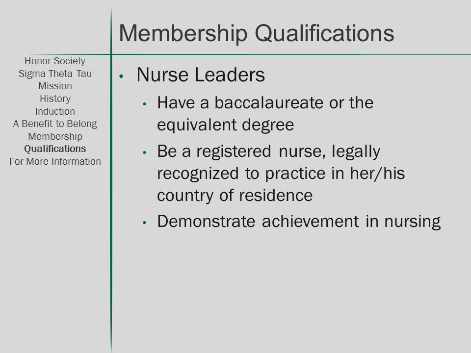 Nurse Leaders Have a baccalaureate or the equivalent degree Be a registered nurse, legally recognized to practice in her/his country of residence Demo