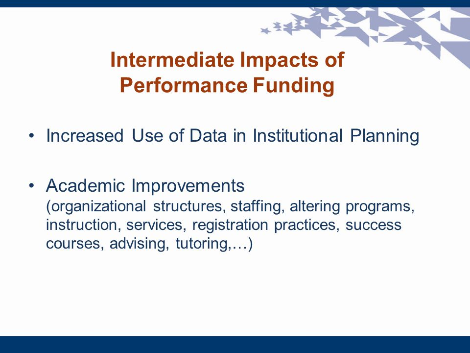 Intermediate Impacts of Performance Funding Increased Use of Data in Institutional Planning Academic Improvements (organizational structures, staffing, altering programs, instruction, services, registration practices, success courses, advising, tutoring,…)