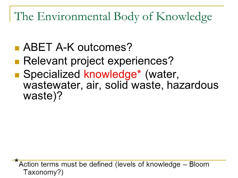The Environmental Body of Knowledge ABET A-K outcomes.
