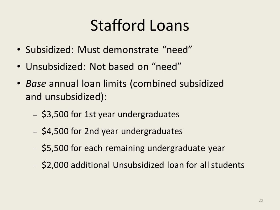 Stafford Loans Subsidized: Must demonstrate need Unsubsidized: Not based on need Base annual loan limits (combined subsidized and unsubsidized): – $3,500 for 1st year undergraduates – $4,500 for 2nd year undergraduates – $5,500 for each remaining undergraduate year – $2,000 additional Unsubsidized loan for all students 22