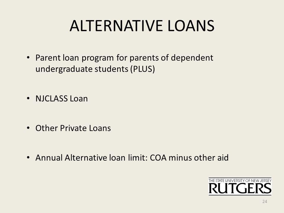 ALTERNATIVE LOANS Parent loan program for parents of dependent undergraduate students (PLUS) NJCLASS Loan Other Private Loans Annual Alternative loan limit: COA minus other aid 24