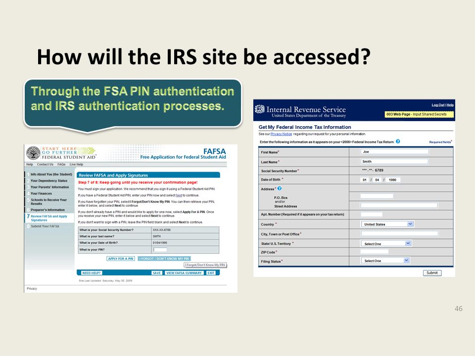 How will the IRS site be accessed 46