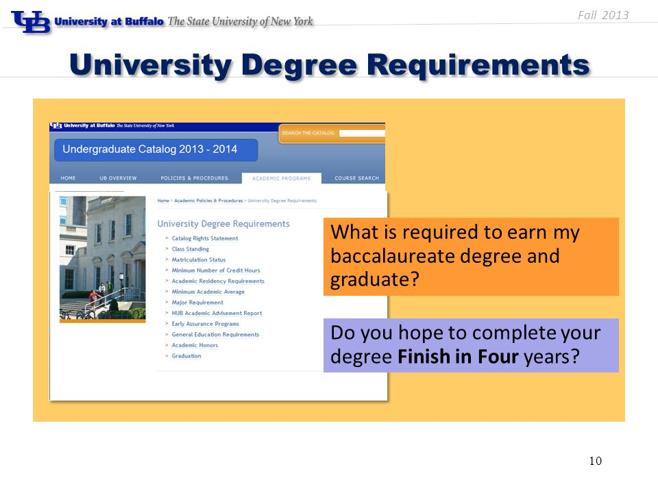 University Degree Requirements 10 What is required to earn my baccalaureate degree and graduate.
