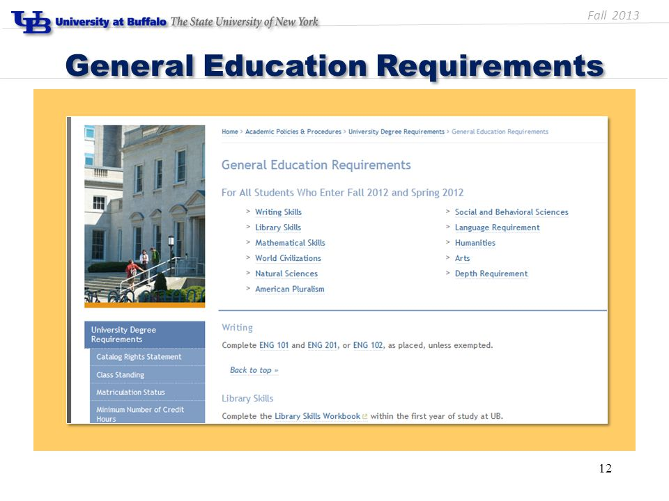 General Education Requirements 12 Fall 2013