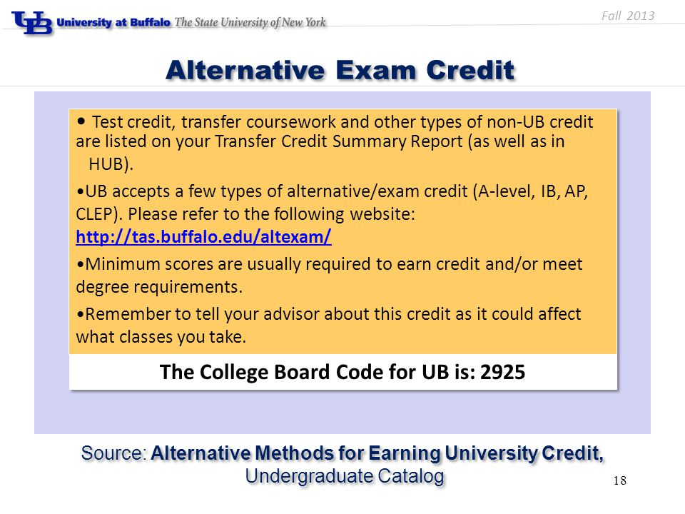 Test credit, transfer coursework and other types of non-UB credit are listed on your Transfer Credit Summary Report (as well as in HUB). UB accepts a
