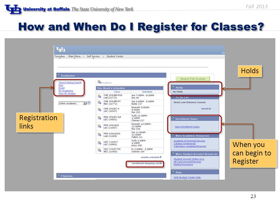 23 How and When Do I Register for Classes? Holds When you can begin to Register When you can begin to Register Registration links Fall 2013