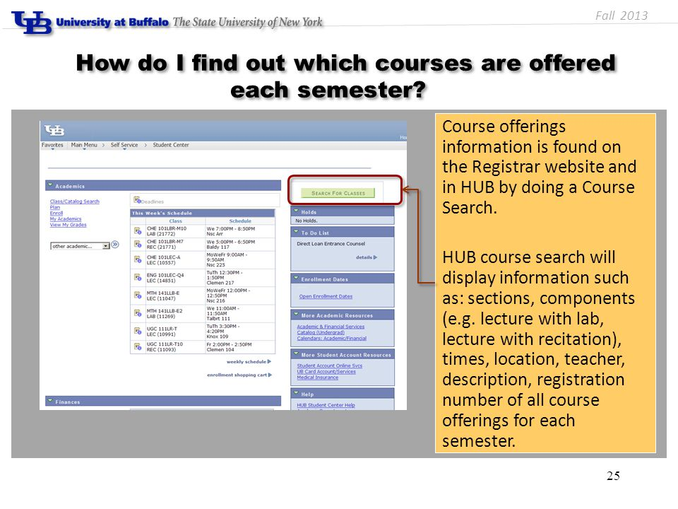 How do I find out which courses are offered each semester.