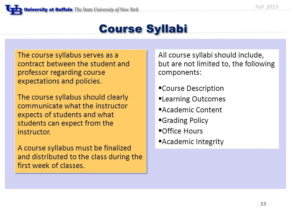 33 Course Syllabi The course syllabus serves as a contract between the student and professor regarding course expectations and policies.