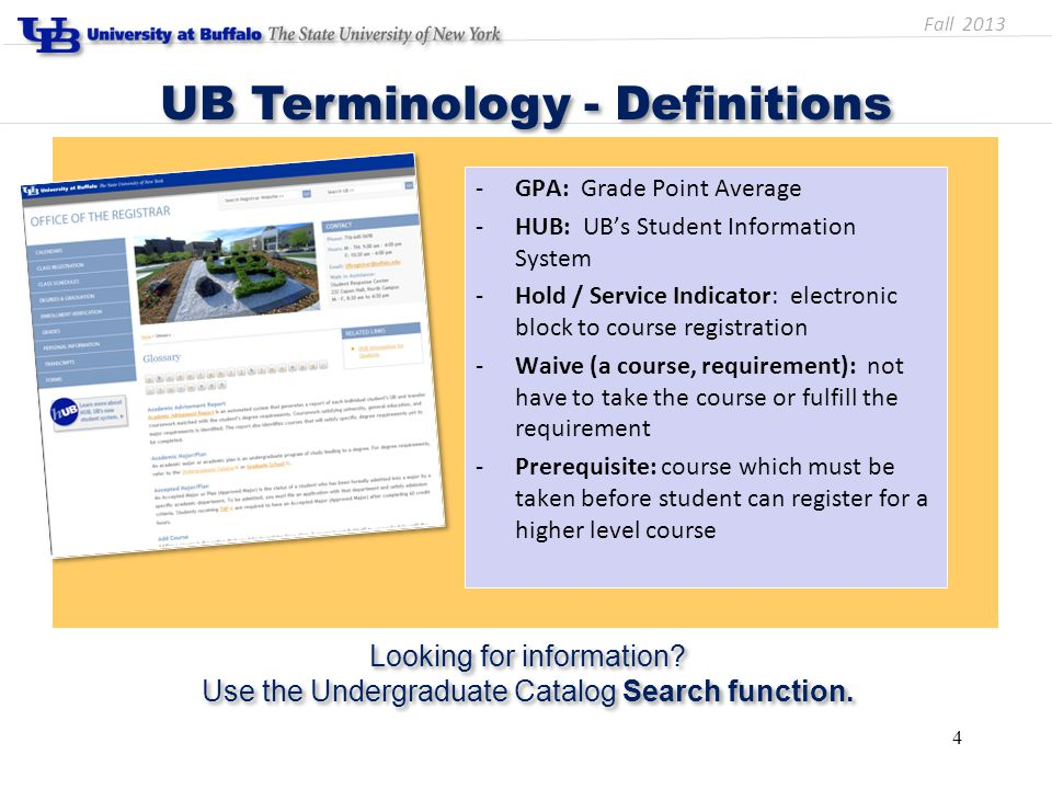-GPA: Grade Point Average -HUB: UB's Student Information System -Hold / Service Indicator: electronic block to course registration -Waive (a course, r