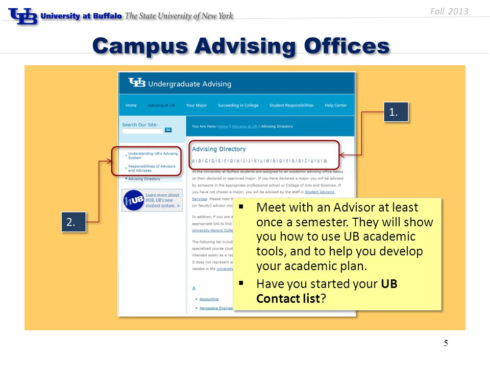 5 Campus Advising Offices  Meet with an Advisor at least once a semester. They will show you how to use UB academic tools, and to help you develop yo