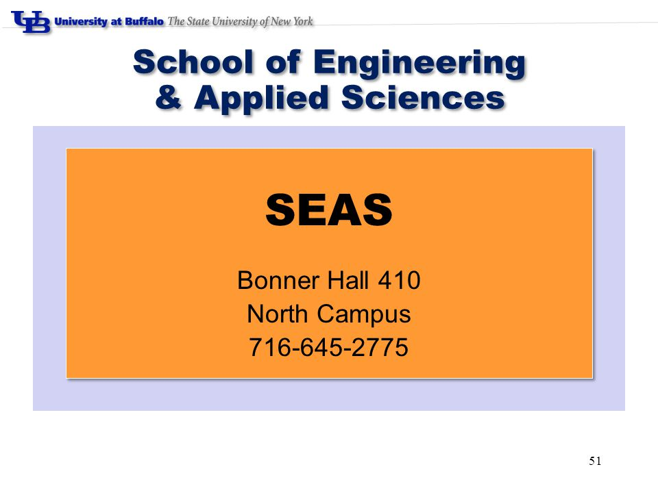 51 School of Engineering & Applied Sciences School of Engineering & Applied Sciences SEAS Bonner Hall 410 North Campus 716-645-2775 SEAS Bonner Hall 4