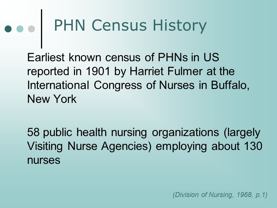 PHN Census History 1916 to 1931 Statistical Department of the National Organization for Public Health Nursing Periodic enumerations of public health nursing agencies and PHNs 1926 3,269 agencies in the US employing 11,171 PHNs (AJPH, 1926).