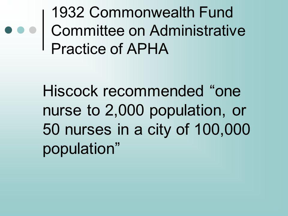Recommendation One Establish a standard national public health nurse to population ratio of 1 public health nurse to 5,000 population.