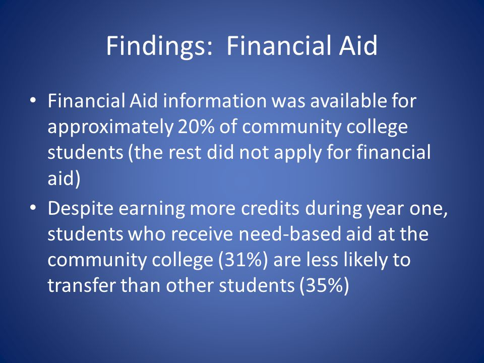 Findings: Financial Aid Financial Aid information was available for approximately 20% of community college students (the rest did not apply for financial aid) Despite earning more credits during year one, students who receive need-based aid at the community college (31%) are less likely to transfer than other students (35%)