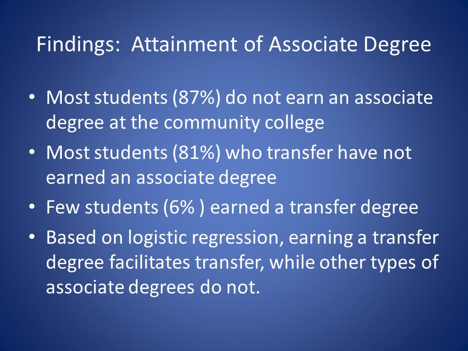 Findings: Attainment of Associate Degree Most students (87%) do not earn an associate degree at the community college Most students (81%) who transfer have not earned an associate degree Few students (6% ) earned a transfer degree Based on logistic regression, earning a transfer degree facilitates transfer, while other types of associate degrees do not.