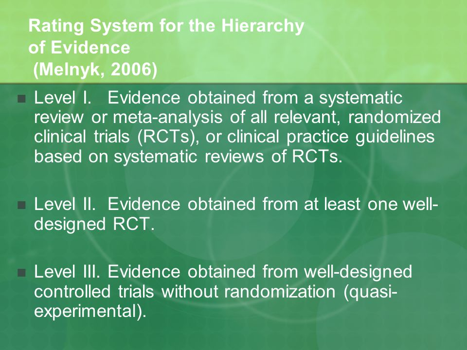 Rating System for the Hierarchy of Evidence (Melnyk, 2006) Level I.