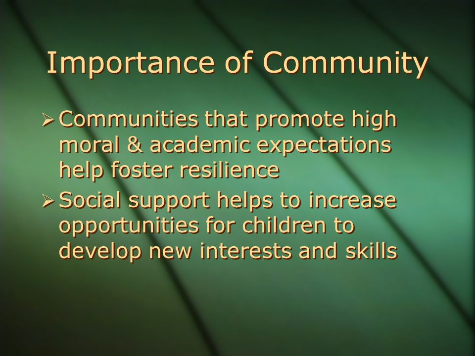 Importance of Community  Communities that promote high moral & academic expectations help foster resilience  Social support helps to increase opportunities for children to develop new interests and skills  Communities that promote high moral & academic expectations help foster resilience  Social support helps to increase opportunities for children to develop new interests and skills