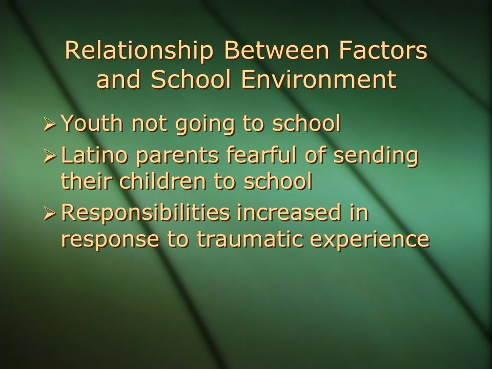 Relationship Between Factors and School Environment  Youth not going to school  Latino parents fearful of sending their children to school  Responsibilities increased in response to traumatic experience  Youth not going to school  Latino parents fearful of sending their children to school  Responsibilities increased in response to traumatic experience
