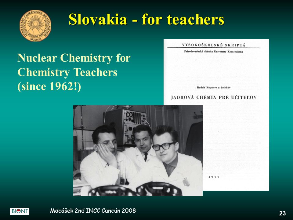 Macášek 2nd INCC Cancún 2008 23 Slovakia - for teachers Nuclear Chemistry for Chemistry Teachers (since 1962!)
