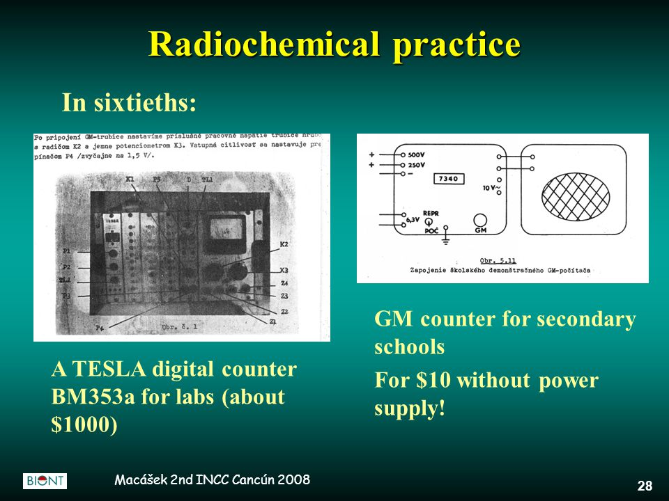 Macášek 2nd INCC Cancún 2008 28 Radiochemical practice In sixtieths: A TESLA digital counter BM353a for labs (about $1000) GM counter for secondary sc