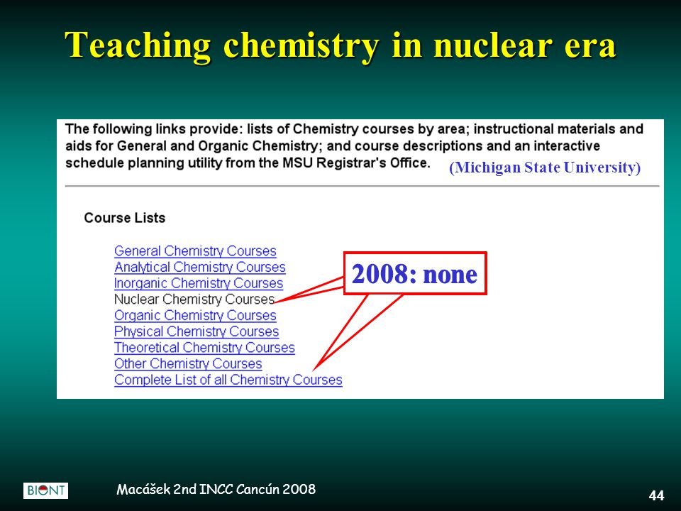 Macášek 2nd INCC Cancún 2008 44 Teaching chemistry in nuclear era 2008: none (Michigan State University) 2008: none