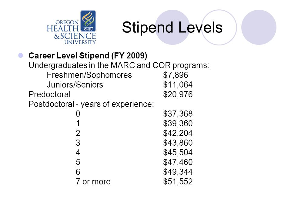 Stipend Levels Career Level Stipend (FY 2009) Undergraduates in the MARC and COR programs: Freshmen/Sophomores$7,896 Juniors/Seniors$11,064 Predoctoral$20,976 Postdoctoral - years of experience: 0$37,368 1$39,360 2$42,204 3$43,860 4$45,504 5$47,460 6$49,344 7 or more$51,552