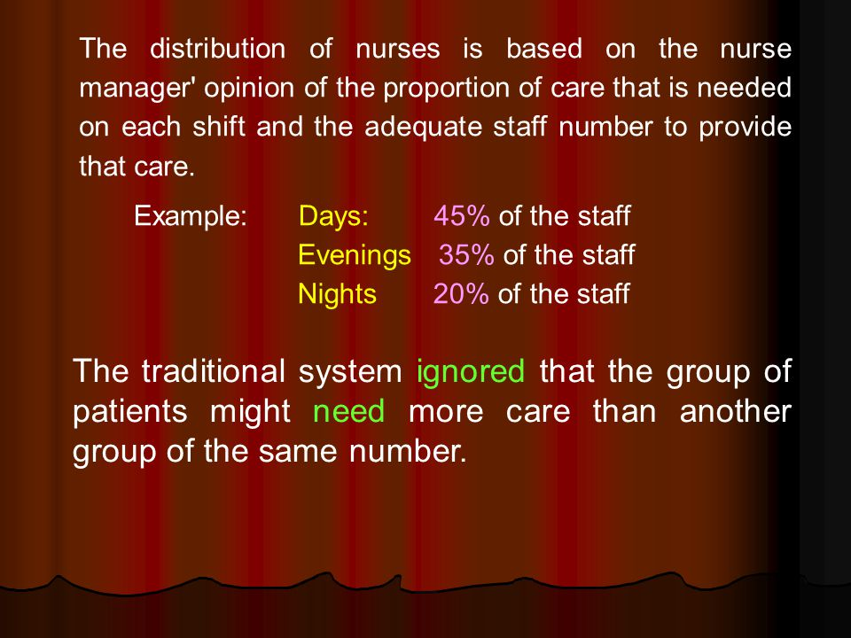 The distribution of nurses is based on the nurse manager opinion of the proportion of care that is needed on each shift and the adequate staff number to provide that care.