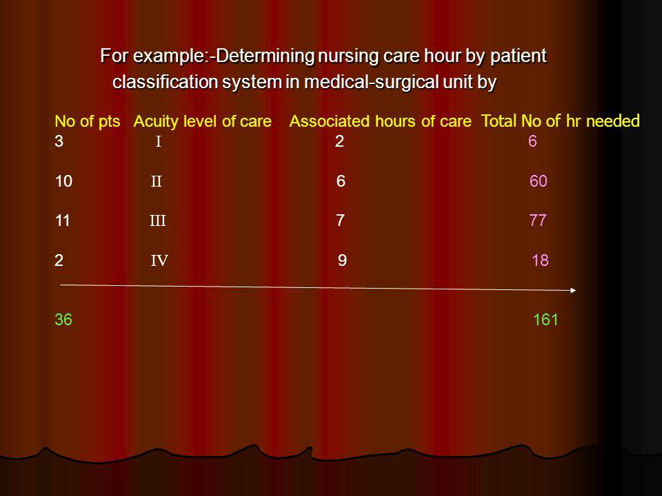 Task quantification system Focuses on nursing tasks.