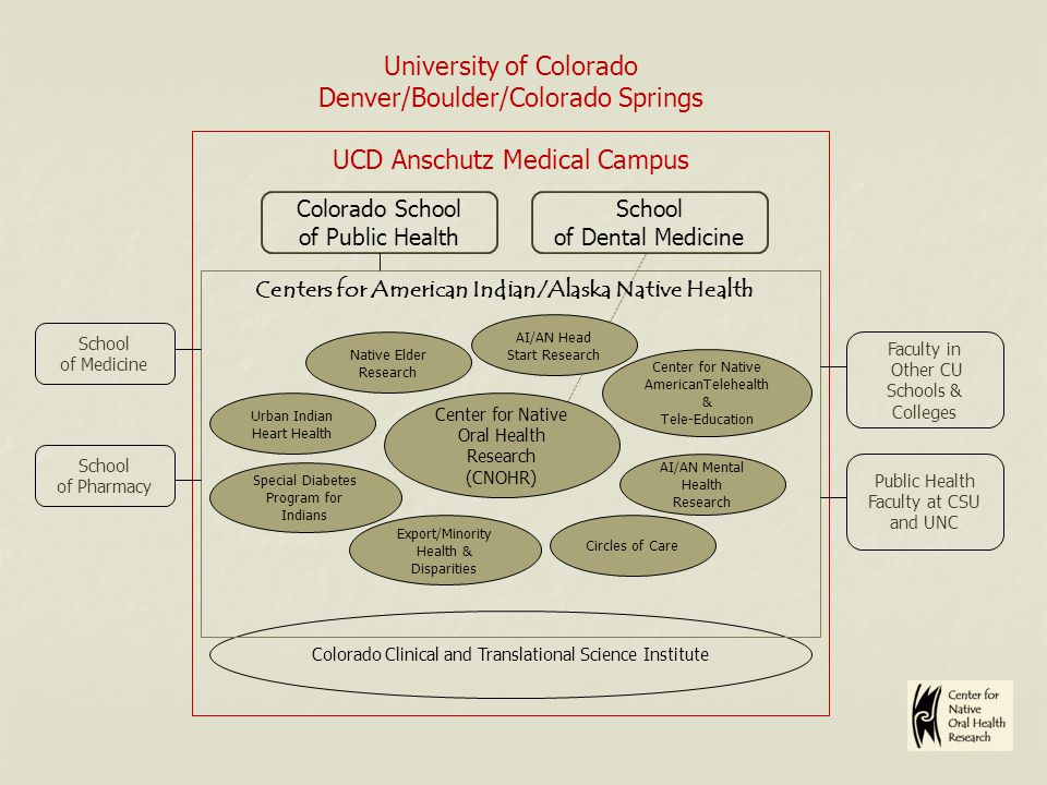 University of Colorado Denver/Boulder/Colorado Springs UCD Anschutz Medical Campus AI/AN Head Start Research School of Medicine School of Pharmacy Faculty in Other CU Schools & Colleges Colorado Clinical and Translational Science Institute Centers for American Indian/Alaska Native Health Special Diabetes Program for Indians Urban Indian Heart Health AI/AN Mental Health Research Center for Native AmericanTelehealth & Tele-Education Native Elder Research Export/Minority Health & Disparities Center for Native Oral Health Research (CNOHR) Circles of Care Colorado School of Public Health School of Dental Medicine Public Health Faculty at CSU and UNC