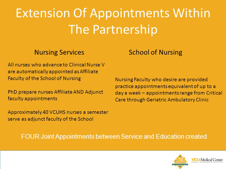 Extension Of Appointments Within The Partnership Nursing Services School of Nursing All nurses who advance to Clinical Nurse V are automatically appointed as Affiliate Faculty of the School of Nursing PhD prepare nurses Affiliate AND Adjunct faculty appointments Approximately 40 VCUHS nurses a semester serve as adjunct faculty of the School Nursing Faculty who desire are provided practice appointments equivalent of up to a day a week – appointments range from Critical Care through Geriatric Ambulatory Clinic FOUR Joint Appointments between Service and Education created