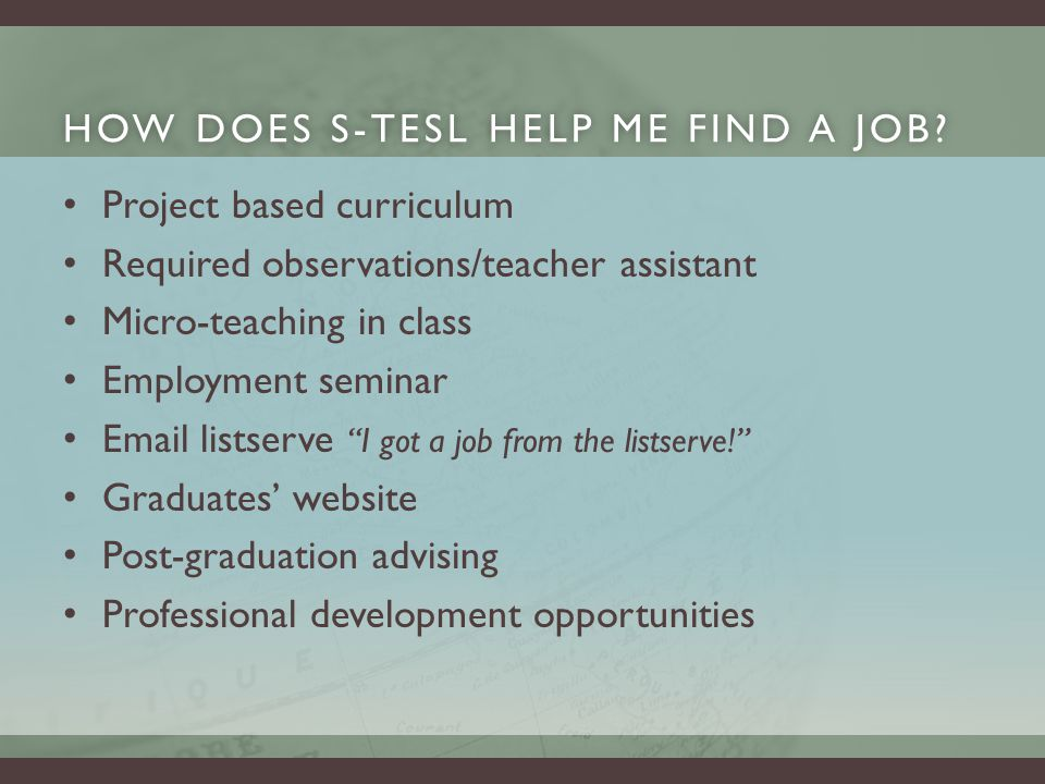 HOW DOES S-TESL HELP ME FIND A JOB HOW DOES S-TESL HELP ME FIND A JOB.