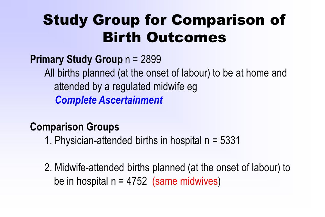 Study Group for Comparison of Birth Outcomes Primary Study Group n = 2899 All births planned (at the onset of labour) to be at home and attended by a