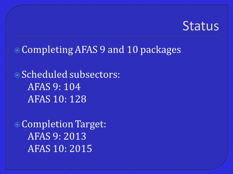 Status  Completing AFAS 9 and 10 packages  Scheduled subsectors: AFAS 9: 104 AFAS 10: 128  Completion Target: AFAS 9: 2013 AFAS 10: 2015