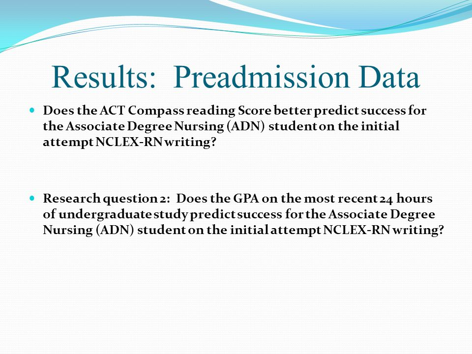 Results: Preadmission Data Does the ACT Compass reading Score better predict success for the Associate Degree Nursing (ADN) student on the initial attempt NCLEX-RN writing.