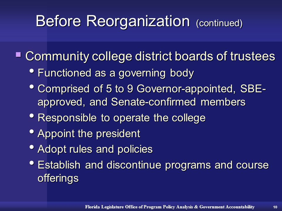 Florida Legislature Office of Program Policy Analysis & Government Accountability Before Reorganization (continued)  Community college district boards of trustees Functioned as a governing body Functioned as a governing body Comprised of 5 to 9 Governor-appointed, SBE- approved, and Senate-confirmed members Comprised of 5 to 9 Governor-appointed, SBE- approved, and Senate-confirmed members Responsible to operate the college Responsible to operate the college Appoint the president Appoint the president Adopt rules and policies Adopt rules and policies Establish and discontinue programs and course offerings Establish and discontinue programs and course offerings 10