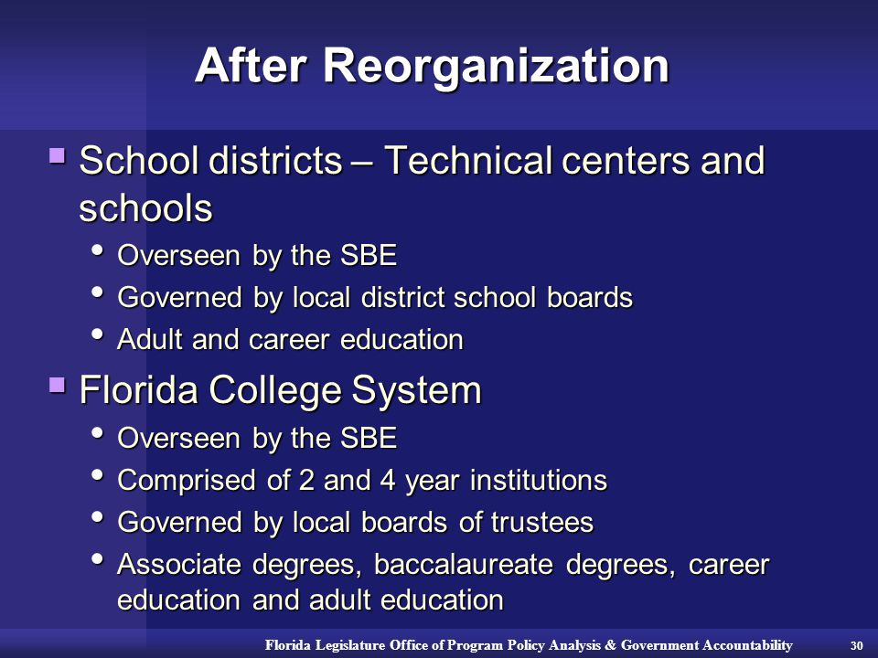 Florida Legislature Office of Program Policy Analysis & Government Accountability After Reorganization  School districts – Technical centers and schools Overseen by the SBE Overseen by the SBE Governed by local district school boards Governed by local district school boards Adult and career education Adult and career education  Florida College System Overseen by the SBE Overseen by the SBE Comprised of 2 and 4 year institutions Comprised of 2 and 4 year institutions Governed by local boards of trustees Governed by local boards of trustees Associate degrees, baccalaureate degrees, career education and adult education Associate degrees, baccalaureate degrees, career education and adult education 30