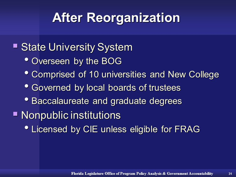 Florida Legislature Office of Program Policy Analysis & Government Accountability After Reorganization  State University System Overseen by the BOG Overseen by the BOG Comprised of 10 universities and New College Comprised of 10 universities and New College Governed by local boards of trustees Governed by local boards of trustees Baccalaureate and graduate degrees Baccalaureate and graduate degrees  Nonpublic institutions Licensed by CIE unless eligible for FRAG Licensed by CIE unless eligible for FRAG 31