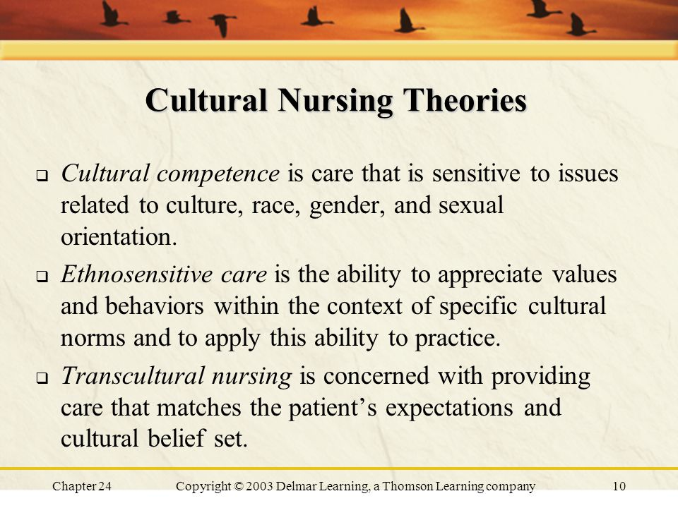 Chapter 24Copyright © 2003 Delmar Learning, a Thomson Learning company10 Cultural Nursing Theories  Cultural competence is care that is sensitive to