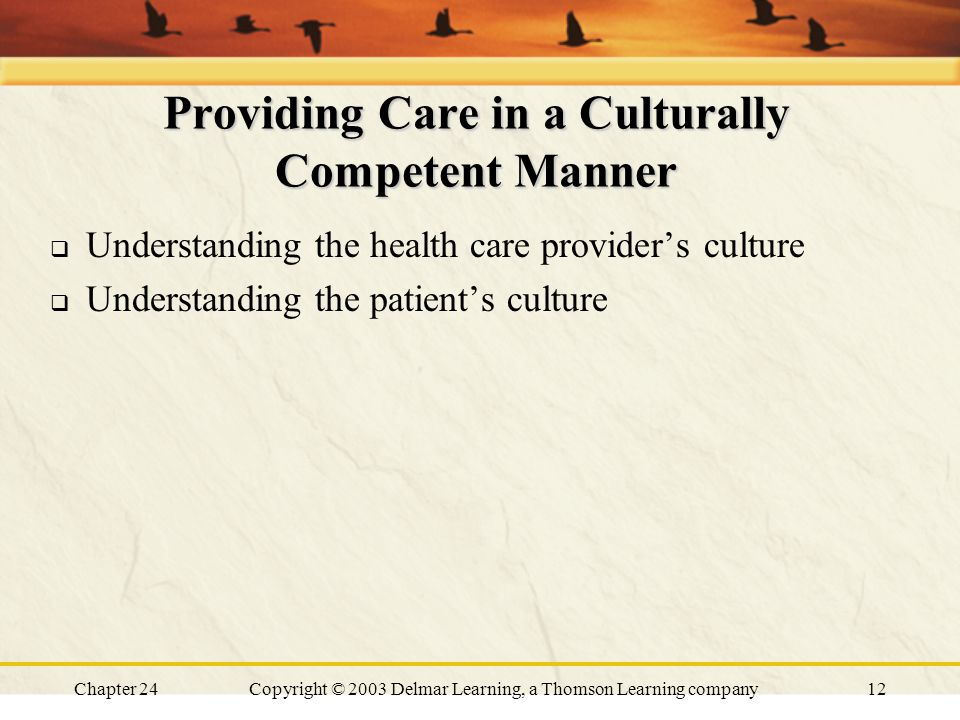 Chapter 24Copyright © 2003 Delmar Learning, a Thomson Learning company12 Providing Care in a Culturally Competent Manner  Understanding the health ca