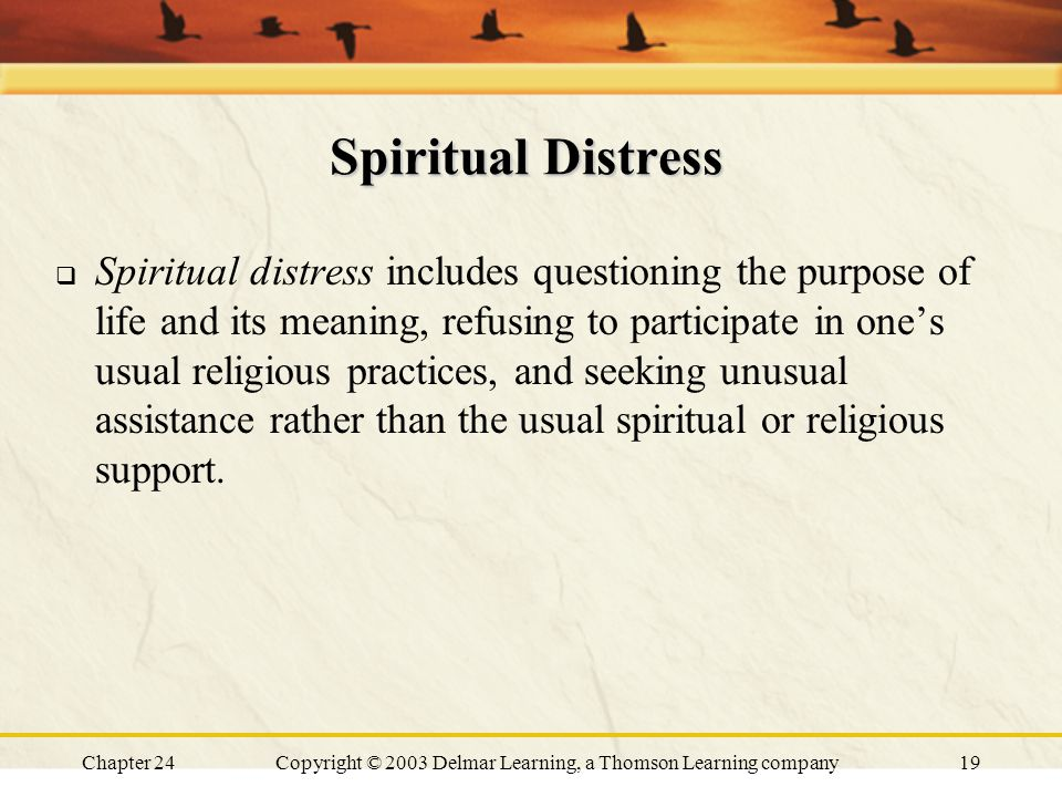Chapter 24Copyright © 2003 Delmar Learning, a Thomson Learning company19 Spiritual Distress  Spiritual distress includes questioning the purpose of l