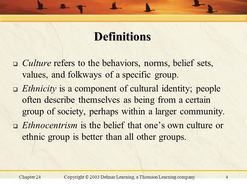 Chapter 24Copyright © 2003 Delmar Learning, a Thomson Learning company4 Definitions  Culture refers to the behaviors, norms, belief sets, values, and