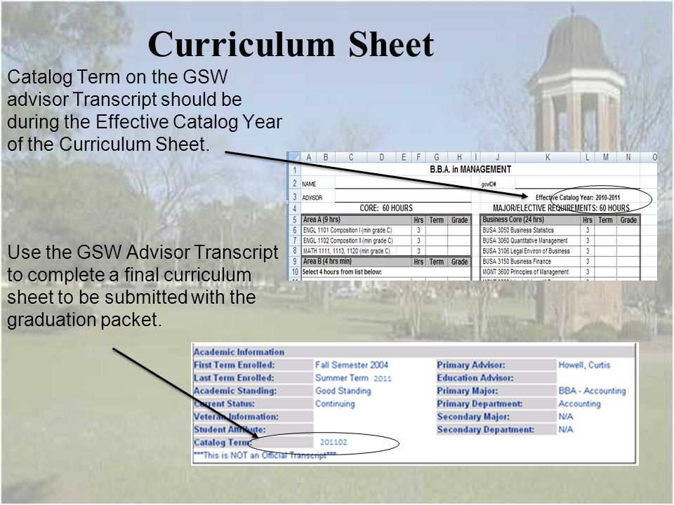 Curriculum Sheet Catalog Term on the GSW advisor Transcript should be during the Effective Catalog Year of the Curriculum Sheet.