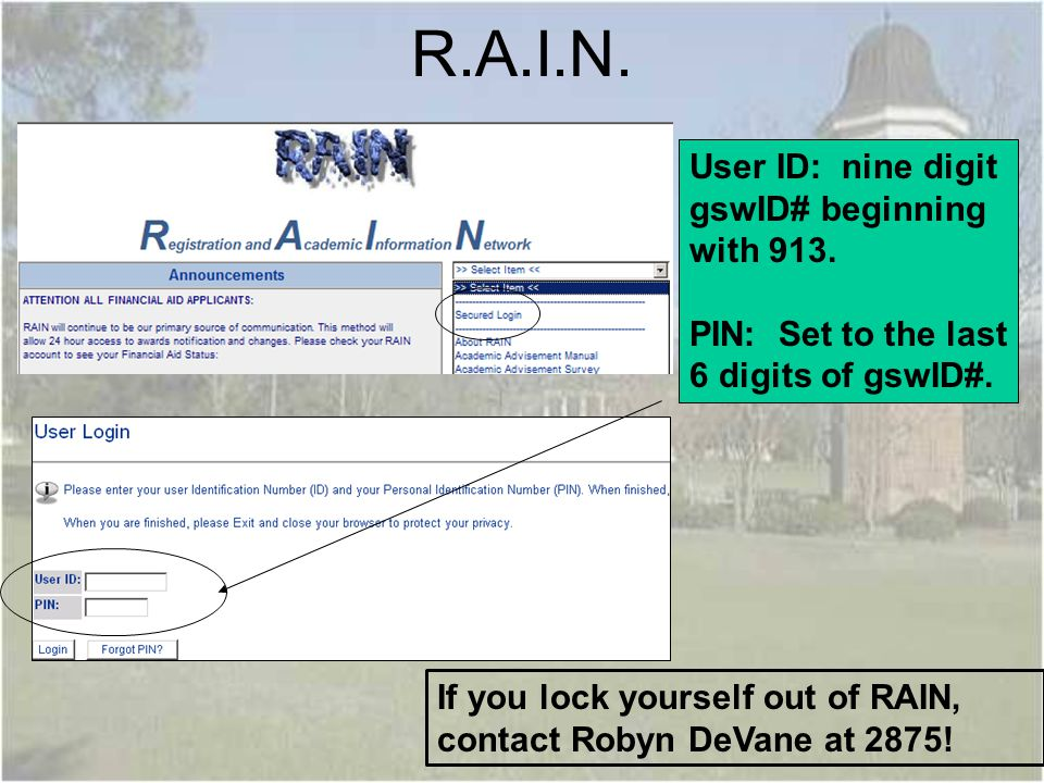 R.A.I.N. User ID: nine digit gswID# beginning with 913.