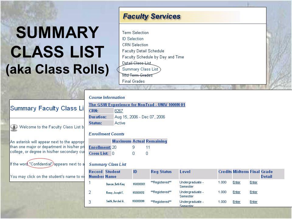 SUMMARY CLASS LIST (aka Class Rolls)