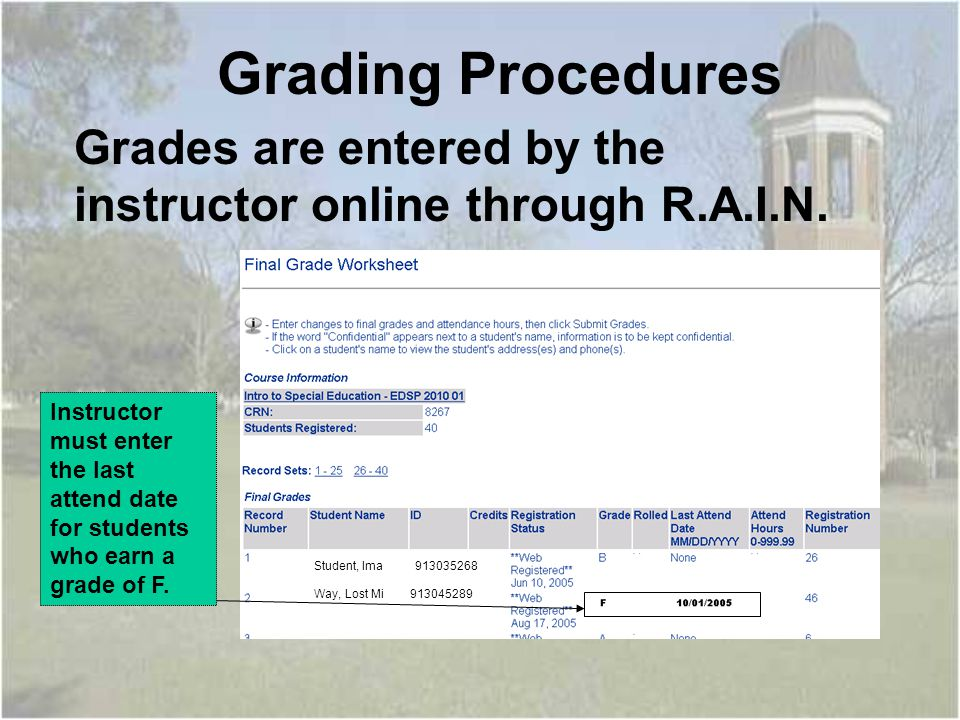 Grades are entered by the instructor online through R.A.I.N.