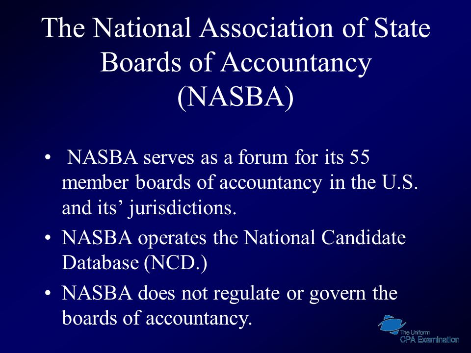 Websites & Email Addresses www.nasba.org www.cpa-exam.org www.prometric.com/cpa www.nol.org/home/BPA Candidatecare@nasba.org CPAES-NE@nasba.org cpaexam@nasba.org